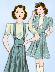 1930s Vintage Hollywood Sewing Pattern 1636 Junior Girls Bolero Suit Size 12