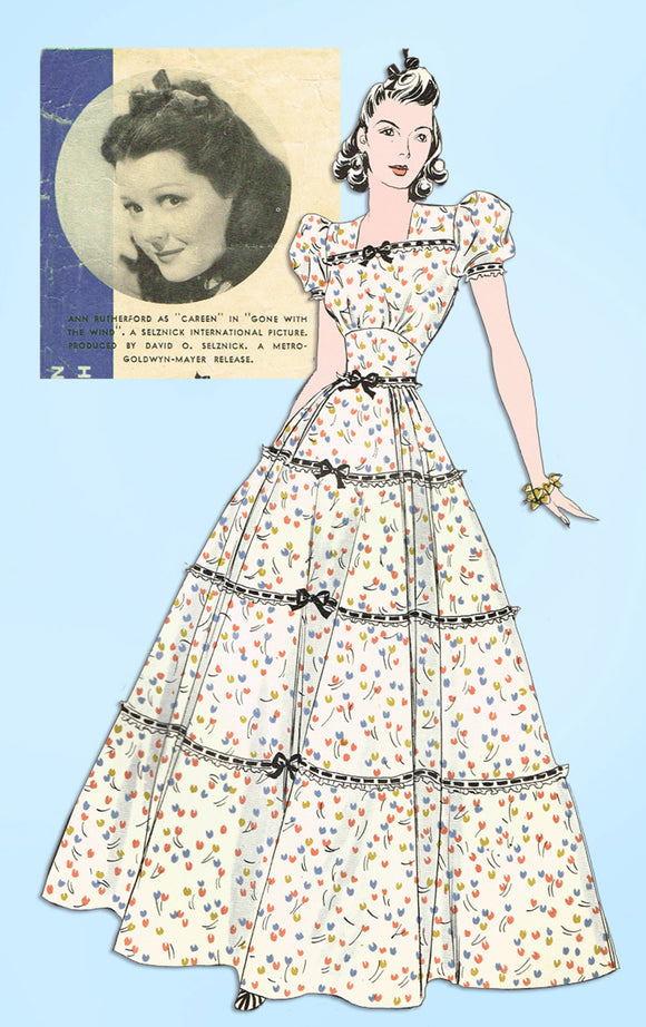 RARE Hollywood Sewing Pattern 1967 Gone with the Wind Civil War Gown Size 32B