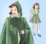 1930s Vintage Hollywood Sewing Pattern 490 Toddler Girls Skirt and Cape Size 4 - Vintage4me2