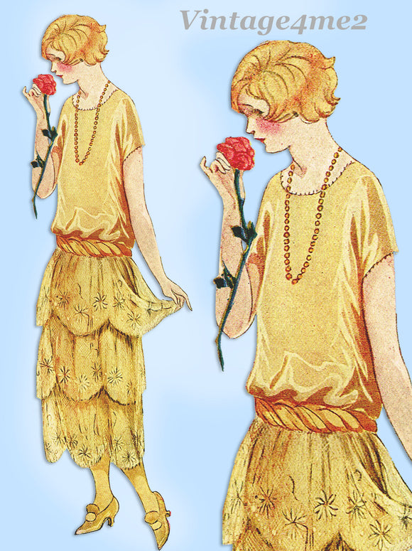 Ladies Home Journal 3321: 1920s Uncut Evening Dress 35 B Vintage Sewing Pattern