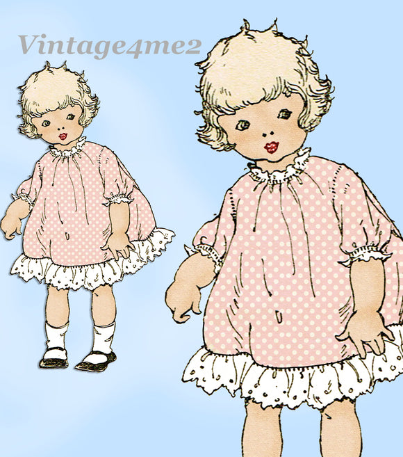 Ladies Home Journal 3393: 1920s Baby Girls Dress Size 2 Vintage Sewing Pattern