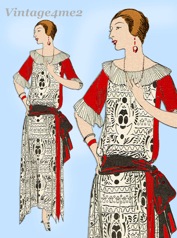 Ladies Home Journal 3505: 1920s Uncut Dinner Dress Sz 36B Vintage Sewing Pattern