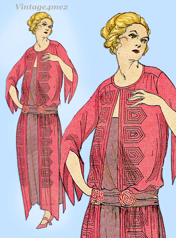 Ladies Home Journal 3527: 1920s Uncut Day Dress Size 36 B Vintage Sewing Pattern