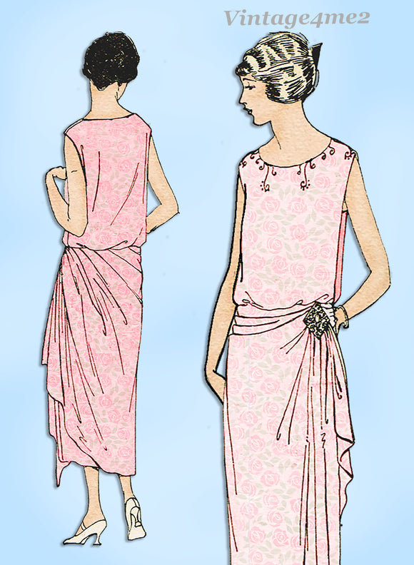Ladies Home Journal 3592: 1920s Uncut Evening Gown 40 B Vintage Sewing Pattern