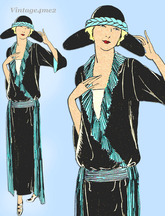 Ladies Home Journal 3640: 1920s Uncut Dinner Dress Sz 42B Vintage Sewing Pattern