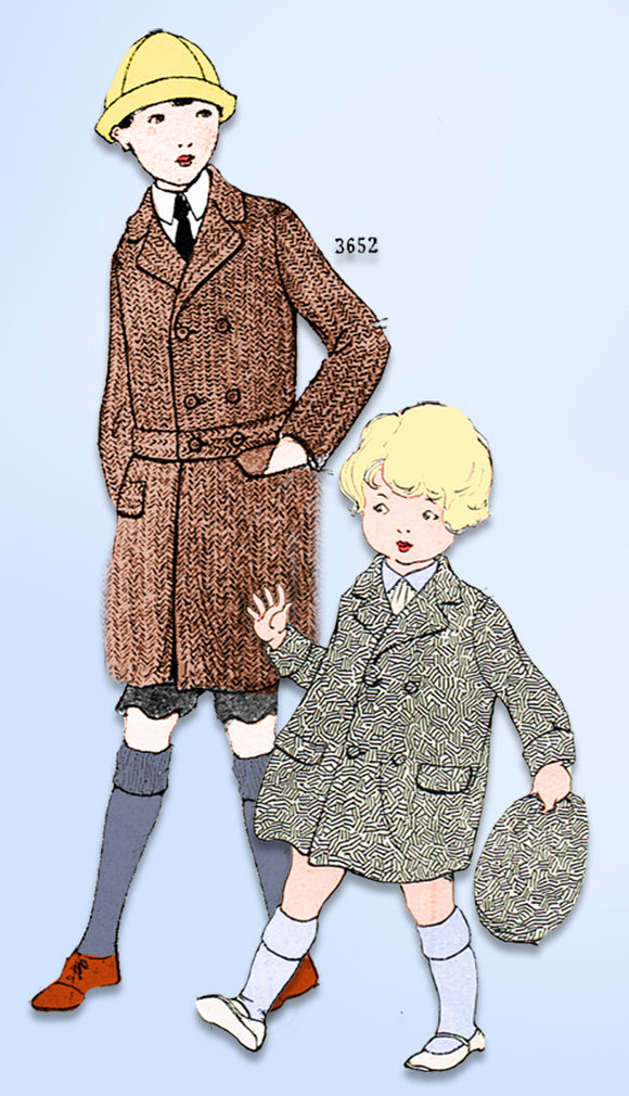 1920s Vintage Ladies Home Journal Sewing Pattern 3652 FF Toddler Boys Coat Sz 4 - Vintage4me2