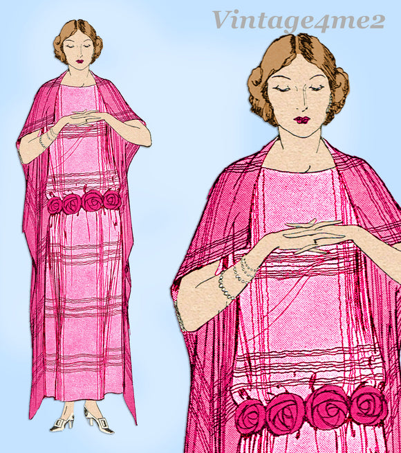 Ladies Home Journal 3686: 1920s Uncut Dinner Dress Sz 36B Vintage Sewing Pattern