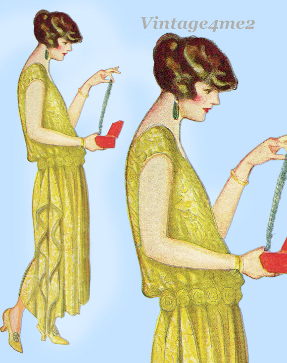 Ladies Home Journal 3713: 1920s Uncut Evening Gown 44 B Vintage Sewing Pattern