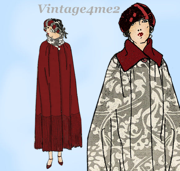 Ladies Home Journal 3820: 1920s Misses Evening Cape Sz SM Vintage Sewing Pattern