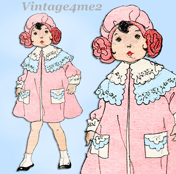 Ladies Home Journal 3822: 1920s Baby Girls Coat Size 2 Vintage Sewing Pattern
