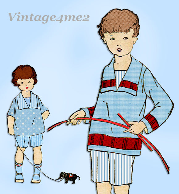 Ladies Home Journal 3847: 1920s Uncut Baby Boys Suit Sz 2 Vintage Sewing Pattern