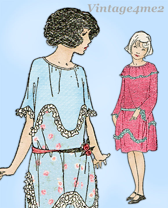 Ladies Home Journal 3884: 1920s Uncut Girls Dress Size 8 Vintage Sewing Pattern
