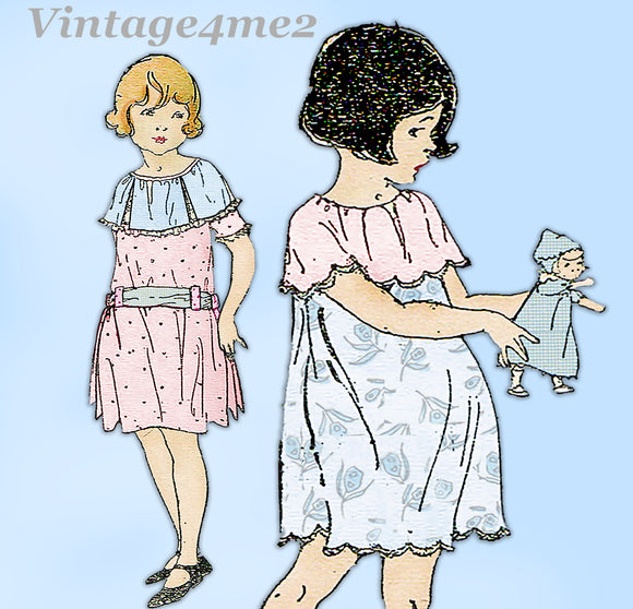 Ladies Home Journal 3886: 1920s Toddler Girls Dress Sz 4 Vintage Sewing Pattern