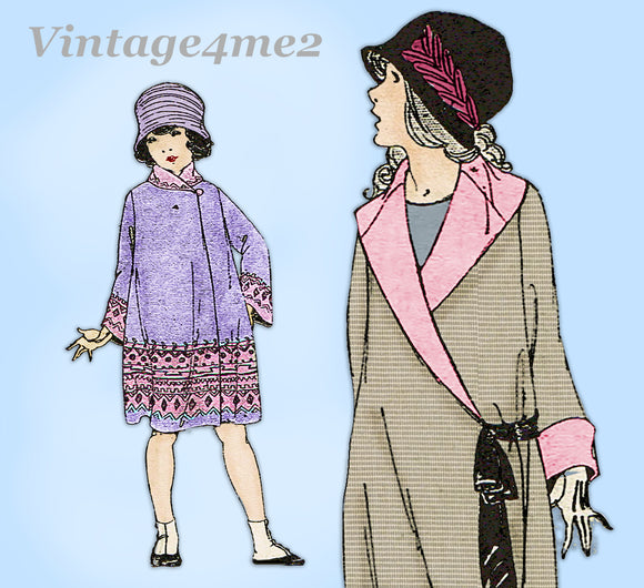 Ladies Home Journal 3979: 1920s Uncut Little Girls Coat Sz 8 Vintage Sewing Pattern