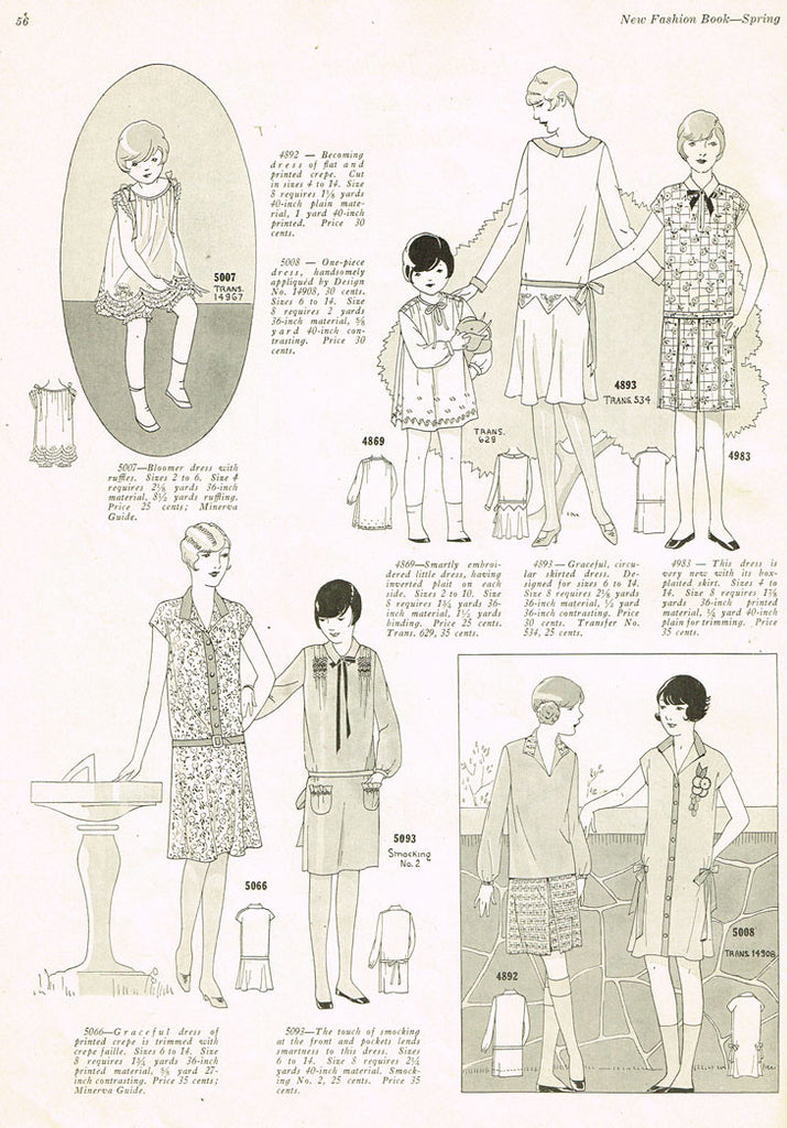 1920s VTG Ladies Home Journal Sewing Pattern 5066 Uncut Girls Dress ...