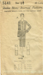 1920s VTG Ladies Home Journal Sewing Pattern 5141 Uncut Misses Flapper Dress 34B