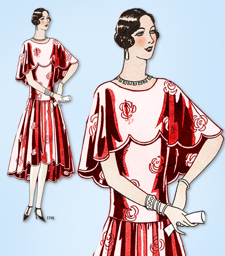 1920s Original Vintage Ladies Home Journal Pattern 5740 Misses Flapper Dress 32B