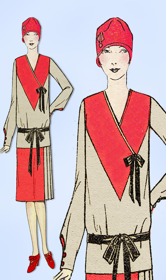 1920s VTG Ladies Home Journal Sewing Pattern 5803 Uncut Misses Flapper Dress 32B - Vintage4me2