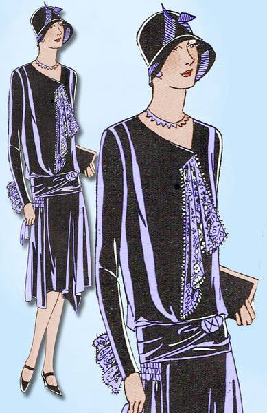 1920s VTG Ladies Home Journal Sewing Pattern 5947 FF Flapper Cocktail Dress 38B