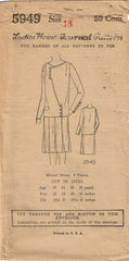 1920s VTG Ladies Home Journal Sewing Pattern 5949 FF Misses Flapper Dress Sz 36B