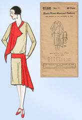 1920s VTG Ladies Home Journal Sewing Pattern 6186 FF Misses Flapper Dress Sz 36B