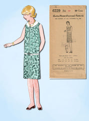 1920s VTG Ladies Home Journal Sewing Pattern 6229 FF Girls Flapper Dress Sz 10