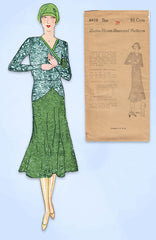 1930s VTG Ladies Home Journal Sewing Pattern 6418 FF Misses Flapper Dress Sz 38B