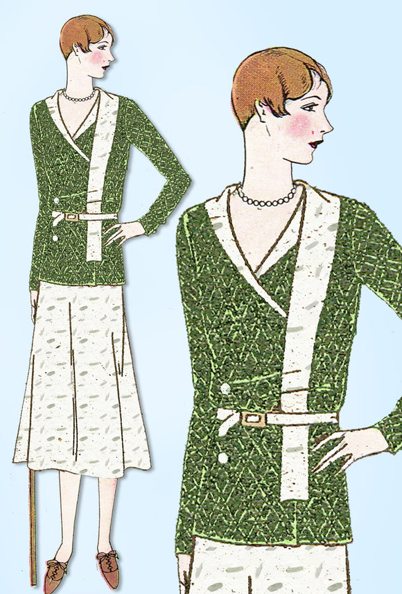1930s Ladies Home Journal Sewing Pattern 6437 Uncut Misses 2 PC Dress Size 38 B - Vintage4me2