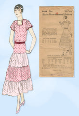 1930s Ladies Home Journal Sewing Pattern 6444 Uncut Misses Afternoon Dress 34B