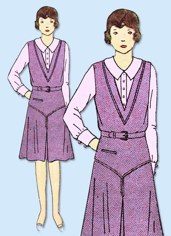 1930s VTG Ladies Home Journal Sewing Pattern 8052 Uncut Girls Jumper Dress Sz 10