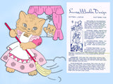 1940s Vintage Laura Wheeler Embroidery Transfer 749 Uncut DOW Kitten Tea Towels