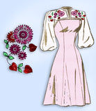 1940s Vintage Laura Wheeler Sewing Pattern 975 Misses Embroidered Dress Size 29B