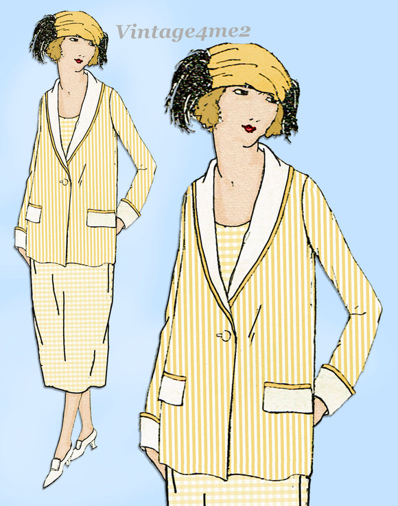 Ladies Home Journal 3041: 1920s Uncut Misses Box Coat Sz 38 B VTG Sewing Pattern