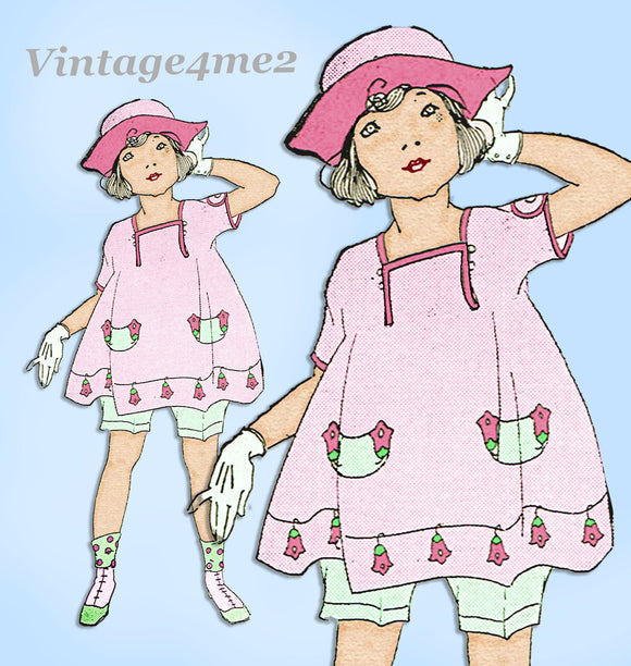 Ladies Home Journal 3585: 1920s Girls Bloomer Dress Sz 4 Vintage Sewing Pattern