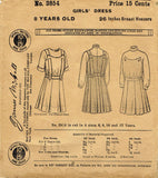 1910s Vintage McCall Sewing Pattern 3854 Little Girls Edwardian Dress Size 8 26B - Vintage4me2