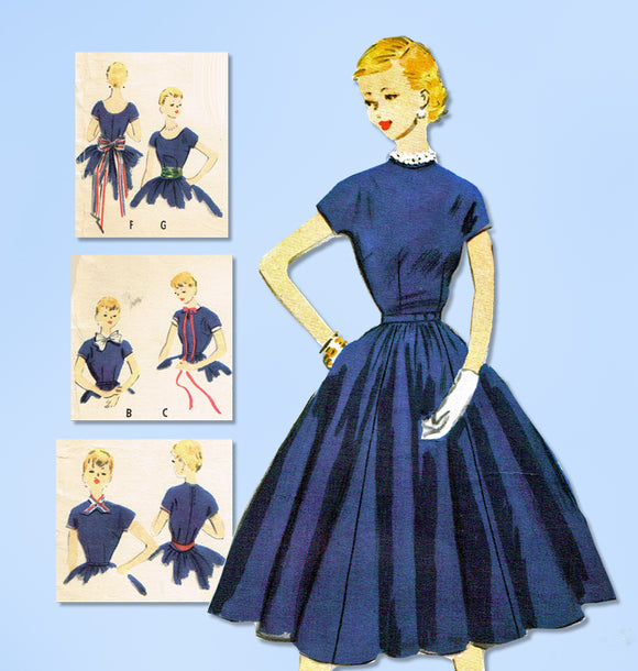 1950s Vintage McCalls Sewing Pattern 9862 Teen Girls Accessory Dress Size 10 28B