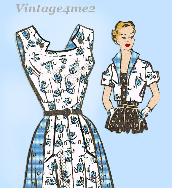 Marian Martin 9039: 1950s Misses Sun Dress & Jacket 38B Vintage Sewing Pattern