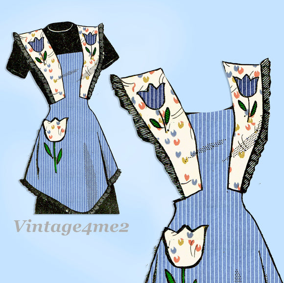 Marian Martin 9170: 1940s Charming Misses Tulip Apron MED Vintage Sewing Pattern