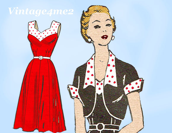 Marian Martin 9360: 1950s Misses Sun Dress & Jacket 34B Vintage Sewing Pattern