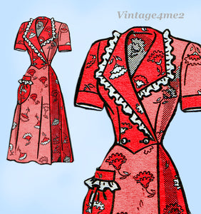 Marian Martin 9420: 1950s Charming Misses Housecoat 32 B Vintage Sewing Pattern