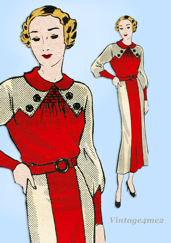 Marian Martin 9600: 1930s Uncut Misses Street Dress 34 B Vintage Sewing Pattern