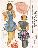 1940s Vintage McCall Sewing Pattern 1279 Misses Scallop Full Bib Apron Fits All