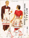 1940s Vintage McCall Sewing Pattern 1481 Cute Mr and Mrs Apron Set Fits ALL