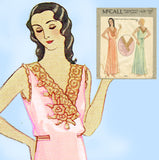 McCall 1839: 1930s Misses Embroidered Nightgown Size Sm Vintage Sewing Pattern - Vintage4me2
