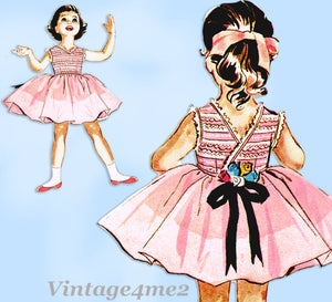 1950s Vintage McCalls Sewing Pattern 2204 Darling Toddler Girls Dress Size 6