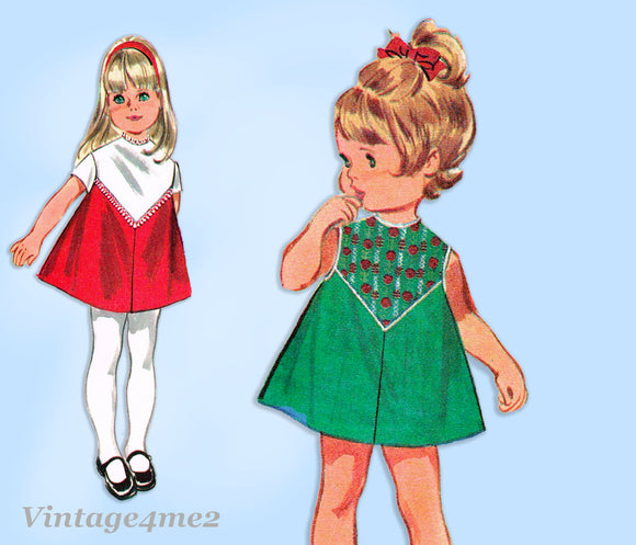 McCall 2219: 1960s Uncut Tiny Todddlers A-Line Dress Sz 6 mos Vintage Sewing Pattern