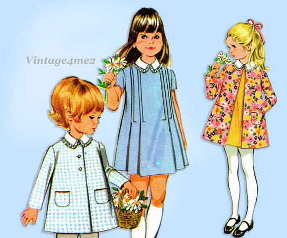 McCall 2273: 1960s Uncut Tiny Todddlers A-Line Dress Size 3 Vintage Sewing Pattern