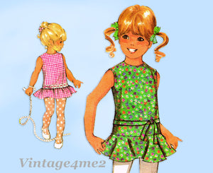 1970s Vintage McCalls Sewing Pattern 2372 Uncut Toddler Girls Drop Waist Dress 4