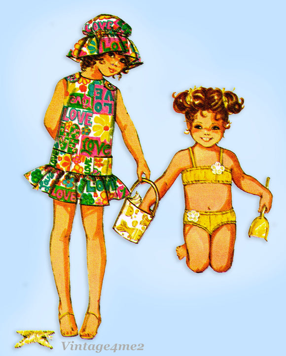 McCall 2414: 1970s Uncut Toddler Girls Bathing Suit Sz 6 Vintage Sewing Pattern