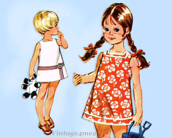 McCall 2435: 1960s Uncut Toddler Girls Sun Dress Size 6 Vintage Sewing Pattern